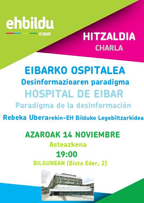 """Hitzaldia: """"Eibarko Ospitalea. Desinformazioaren paradigma"""" @ Bilgunea (Bista Eder, 2)"""