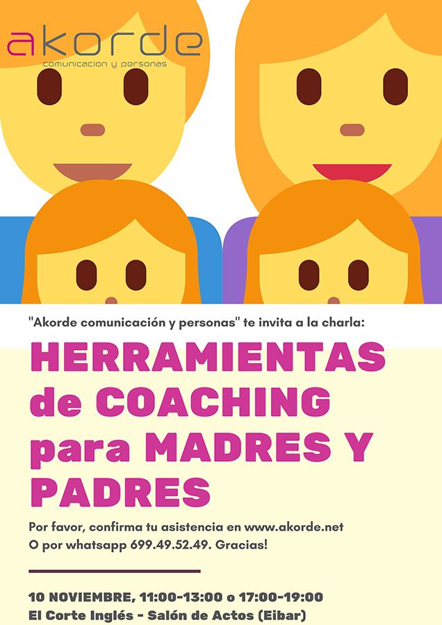 """Hitzaldia: """"Herramientas de coaching para padres y madres"""" @ El Corte Inglesean (ekitaldi aretoan)"""