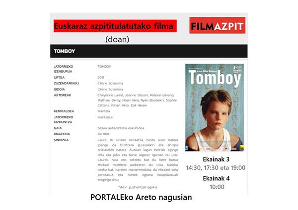"""""""Tomboy"""" filma euskerazko azpitituluekin @ Portalean (areto nagusian)"""