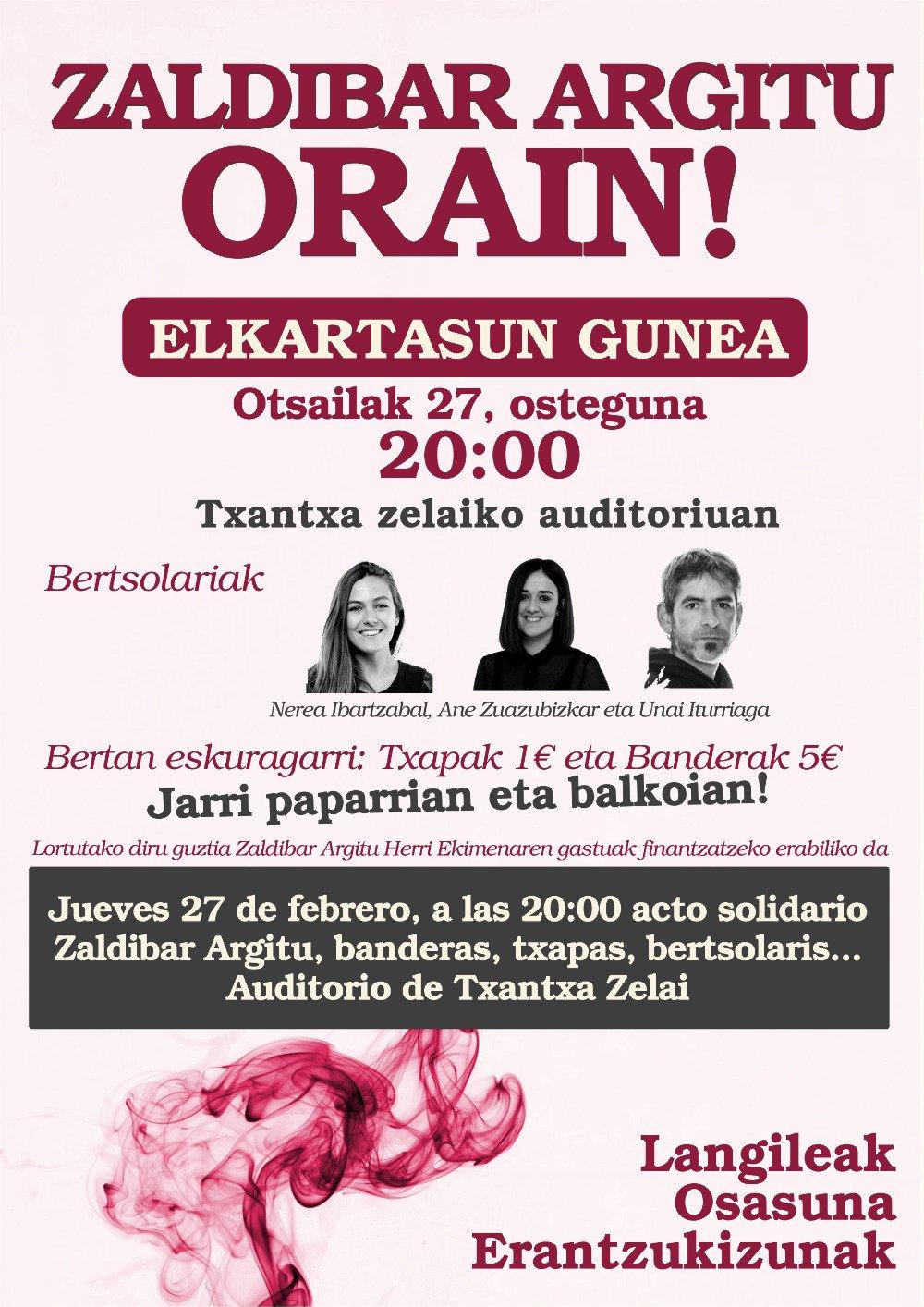 """Bertso-saioa: """"Zaldibar Argitu Orain!"""" ekimenaren aldekoa @ Txaltxa Zelaiko auditoriumean"""