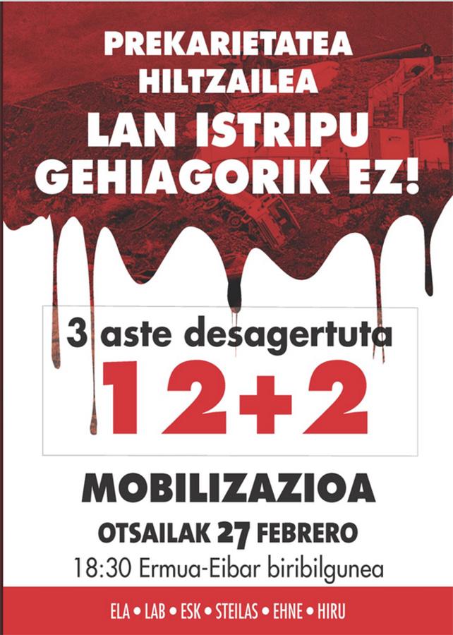 """Mobilizazioa: """"Prekarietatea hiltzailea. Lan istripu gehiagorik ez!"""" @ Ermua-Eibar biribilgunea"""